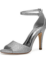 cheap -Women's Wedding Shoes High Heel Open Toe Wedding Party & Evening Gleit Rhinestone Solid Colored Black Champagne Ivory