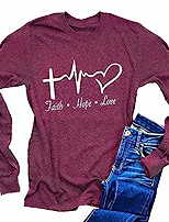 cheap -women's long sleeve faith hope love t-shirt casual easter graphic tee tops (l, purple)