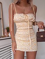 cheap -Women's Strap Dress Short Mini Dress - Sleeveless Floral Print Summer Sexy Party Slim 2020 Blue Yellow S M L