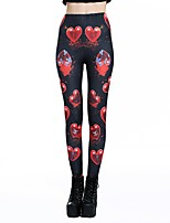 cheap -Women's Basic Casual Comfort Daily Gym Leggings Pants Heart Full Length Print Black