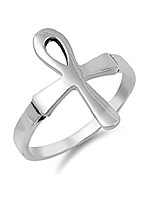 cheap -sterling silver ankh cross ring size 6