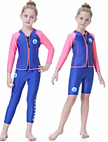 cheap -Girls' Full Wetsuit 2.5mm SCR Neoprene Diving Suit Quick Dry Long Sleeve Front Zip Patchwork Autumn / Fall Spring Summer / Kids