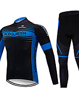 cheap -Men's Long Sleeve Cycling Jersey with Tights Winter Elastane Polyester Black Bike Clothing Suit Breathable 3D Pad Quick Dry Reflective Strips Sweat-wicking Sports Graphic Clothing Apparel