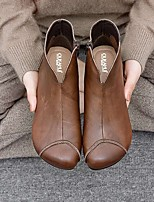 cheap -Women's Boots Block Heel Round Toe Casual Daily Walking Shoes PU Dark Brown Black / Booties / Ankle Boots