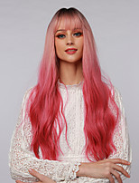 cheap -Cosplay Costume Wig Synthetic Wig Ombre Curly Water Wave Neat Bang With Bangs Wig Very Long Ombre Pink Synthetic Hair 24 inch Women's Cosplay Color Gradient Dark Roots Pink Ombre BLONDE UNICORN