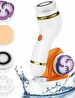 cheap -4 in 1 facial brush electric facial cleansing brush waterproof-face brush set 2 speeds facial cleansing brush for deep cleaning exfoliating blackhead removing, orange