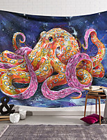 cheap -Wall Tapestry Art Decor Blanket Curtain Hanging Home Bedroom Living Room Decoration Polyester Fiber Animal Painted Blue Ring Octopus Lanting Design