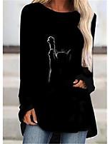 cheap -Women's T Shirt Dress Tee Dress Short Mini Dress - Long Sleeve Print Patchwork Print Spring Fall Plus Size Casual 2021 Black S M L XL XXL 3XL