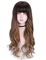 cheap -Synthetic Wig Mali Twist With Bangs Wig Long Brown Synthetic Hair 22 inch Women's Comfy Fluffy Brown