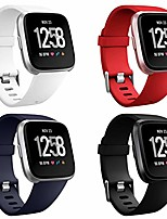 cheap -4 packs bands compatible with fitbit versa/versa 2/fitbit versa lite for women and men, classic soft silicone sport strap replacement wristband for fitbit versa smart watch