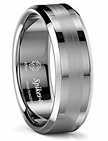 cheap -8mm silver tungsten carbide ring brushed center comfort fit wedding band ring men jewelry simple style gift (9.5)