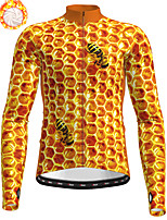 cheap -21Grams Men's Long Sleeve Cycling Jacket Winter Fleece Polyester Orange Animal Bike Jacket Top Mountain Bike MTB Road Bike Cycling Thermal Warm Fleece Lining Breathable Sports Clothing Apparel