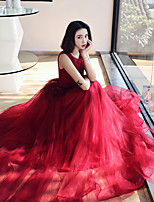 cheap -A-Line Elegant Vintage Engagement Formal Evening Dress Illusion Neck Sleeveless Floor Length Tulle with Tassel Tier 2020