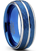 cheap -men's two tone blue hammered brushed tungsten wedding ring, 8mm comfort fit band sz 10