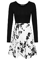 cheap -women's vintage 1950s retro dress a-line long sleeve floral swing dress with pockets(bk,xl)