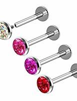 cheap -internally steel 16g 5/16 8mm lip labret piercing jewelry cartilage monroe tragus 4mm ab ro fu lsi ferido crystal m7576