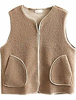 cheap -Women's Jacket Solid Color Vests Formal Style Fall Coat Regular Street Sleeveless Polyester Coat Tops PE150 Velvet Zipper Vest / Army Green