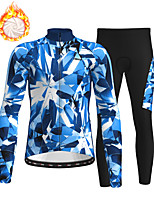 cheap -21Grams Men's Long Sleeve Cycling Jersey with Tights Winter Fleece Polyester Blue Camo / Camouflage Bike Clothing Suit Fleece Lining Breathable 3D Pad Warm Quick Dry Sports Graphic Mountain Bike MTB