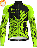 cheap -21Grams Men's Long Sleeve Cycling Jersey Winter Fleece Polyester White Yellow Blue Camo / Camouflage Animal Bike Jersey Top Mountain Bike MTB Road Bike Cycling Fleece Lining Breathable Warm Sports