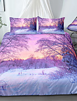 cheap -Winter Snow Landscape 3-Piece Duvet Cover Set Hotel Bedding Sets Comforter Cover with Soft Lightweight Microfiber For Holiday Decoration(Include 1 Duvet Cover and 1or 2 Pillowcases)