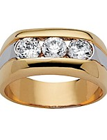 cheap -men's 14k yellow gold plated round cubic zirconia two tone 3 stone ring size 9