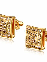 cheap -hypoallergenic stud earrings iced out cz earrings with 925 sterling silver screw back 18k gold plated earrings for men women aretes para hombre