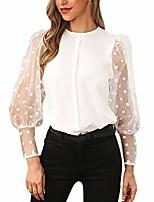cheap -fashion women o-neck lantern sleeve perspective mesh sleeve casual loose top (white, xl)