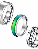 cheap -3pcs lucky rotating ring, comfort fit color changing mood ring, men and women fashion creative ring, titanium steel chain ring holiday party punk rock band locomotive couple ring gift size 7-12
