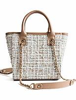 cheap -woman's classic shoulder bags plaid tweed fabric handbag pearl chain strap crossbody bags (khaki)