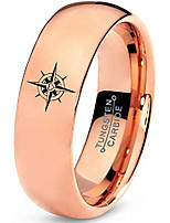 cheap -tungsten heart compass band ring 7mm men women comfort fit 18k rose gold dome polished size 13