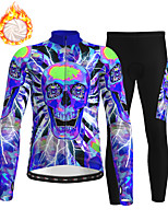 cheap -21Grams Men's Long Sleeve Cycling Jersey with Tights Winter Fleece Polyester Blue Skull Bike Clothing Suit Thermal Warm Fleece Lining Breathable 3D Pad Warm Sports Skull Mountain Bike MTB Road Bike