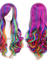 cheap -Synthetic Wig Deep Wave With Bangs Wig Long Rainbow Synthetic Hair Women's Cosplay Color Gradient Mixed Color