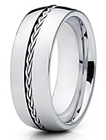 cheap -8mm silver braided braid tungsten carbide wedding band mens comfort fit ring