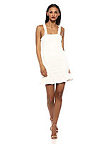 cheap -women's elsa sleeveless ruffle hem fitted short mini dress, milk, l