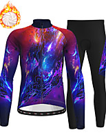 cheap -21Grams Men's Long Sleeve Cycling Jersey with Tights Winter Fleece Polyester Purple Bike Clothing Suit Thermal Warm Fleece Lining Breathable 3D Pad Warm Sports Printed Mountain Bike MTB Road Bike