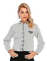 cheap -Women's Blouse Shirt Striped Cat Long Sleeve Lace Print Shirt Collar Tops Basic Basic Top White Black Blue