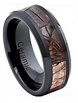 cheap -8mm black ceramic wedding band ring high polish with forest floor foliage camo inlay beveled edge