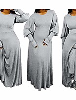 cheap -and winter fashion loose solid color and floor long dress grey