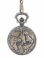 cheap -pocket watch unisex thin chain three horses bronze pocket watch nostalgic embossed horse pocket watch retro pocket watch with chain (color, size : free size)