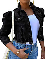 cheap -women's casual puff sleeve button front slim cropped denim jean jacket (black, large)