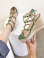 cheap -Women's Sandals Wedge Heel Open Toe Casual Daily Walking Shoes PU Almond Black Green