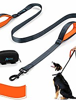 cheap -double handle dog leash 6 ft long for large and medium dogs reflective threads stitching leash with two traffic padded handles & poop bag dispenser for walking, training (orange)