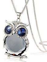 cheap -fashion owl pendant necklace,women alloy+glass diamond sweater chain long necklace jewelry gift (gray)