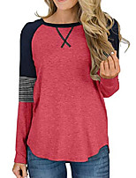 cheap -womens long sleeve and short sleeve t shirts color block causal blouses tops round neck striped tunic tops peach