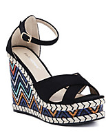 cheap -Women's Sandals Wedge Heel Peep Toe Roman Shoes Daily PU Solid Colored Almond Black