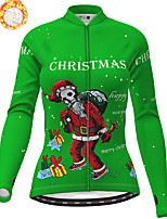 cheap -21Grams Women's Long Sleeve Cycling Jersey Winter Fleece Polyester Red Blue Orange Skull Christmas Santa Claus Bike Jersey Top Mountain Bike MTB Road Bike Cycling Fleece Lining Warm Quick Dry Sports