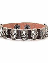 "cheap -punk rock alloy buckle leather wristband skull cuff bracelet,7.5"" wrist"