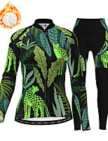 cheap -21Grams Women's Long Sleeve Cycling Jersey with Tights Winter Fleece Polyester Dark Green Camo / Camouflage Animal Bike Clothing Suit Fleece Lining Breathable 3D Pad Warm Quick Dry Sports Plants