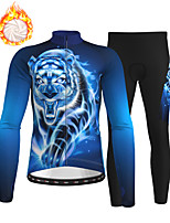 cheap -21Grams Men's Long Sleeve Cycling Jersey with Tights Winter Fleece Polyester Blue Animal Bike Clothing Suit Thermal Warm Fleece Lining Breathable 3D Pad Warm Sports Printed Mountain Bike MTB Road