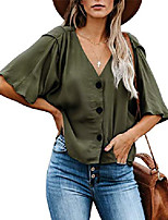 cheap -women's button down v neck blouse loose casual shirts tops,army green,l